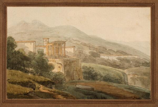 SMITH Thomas (fl.1780-1822) - 'Temple of the Sybil at Tivoli, with Horace's Villa behind'.