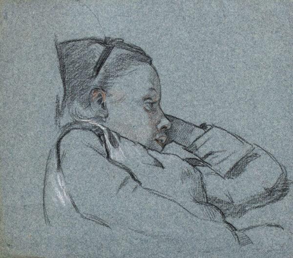 STOCKS Arthur (1846-1889) - Study of a girl.