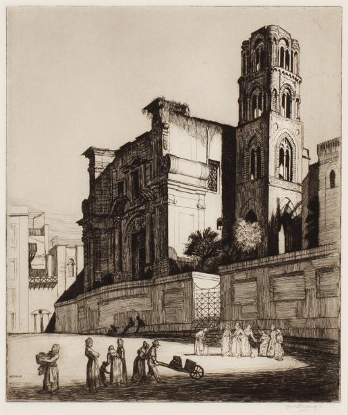 STRANG William R.A. R.E. (1859-1921) - 'Church in Palermo'.