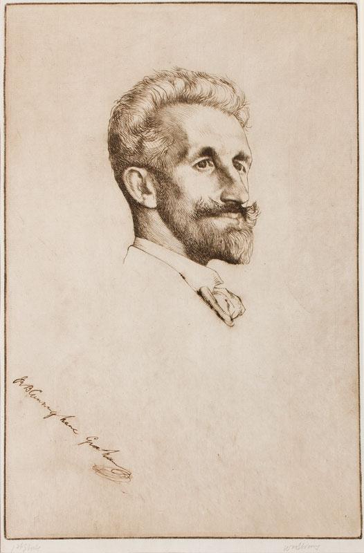 STRANG William R.A. R.E. (1859-1921) - 'Portrait of R B Cunninghame Graham'.