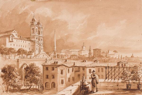 CRICHTON-STUART Lady James (Née Hannah Tighe) (1800-1872) - 'From the top of Casa Margherita, Rome'.