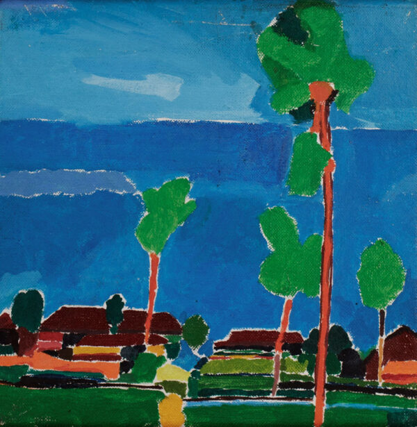 SUTTON Philip R.A. (b.1928) - 'Village with tall trees against the sea'.