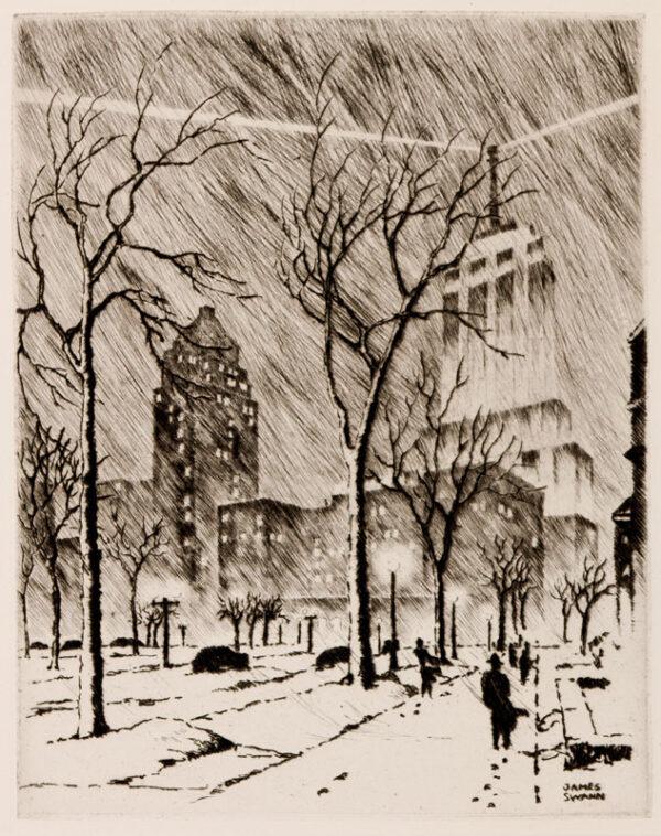 SWANN James (1905-1985) - 'Snowstorm, Chicago'.