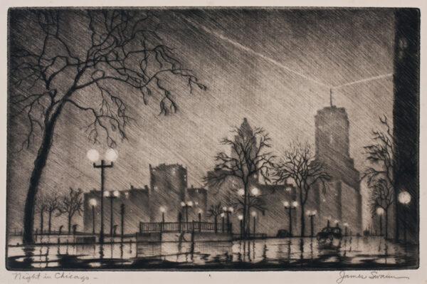 SWANN James (1905-1985) - 'Night in Chicago'.