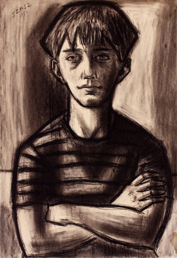 SZASZ Paul (1912-1969) - Seated boy.