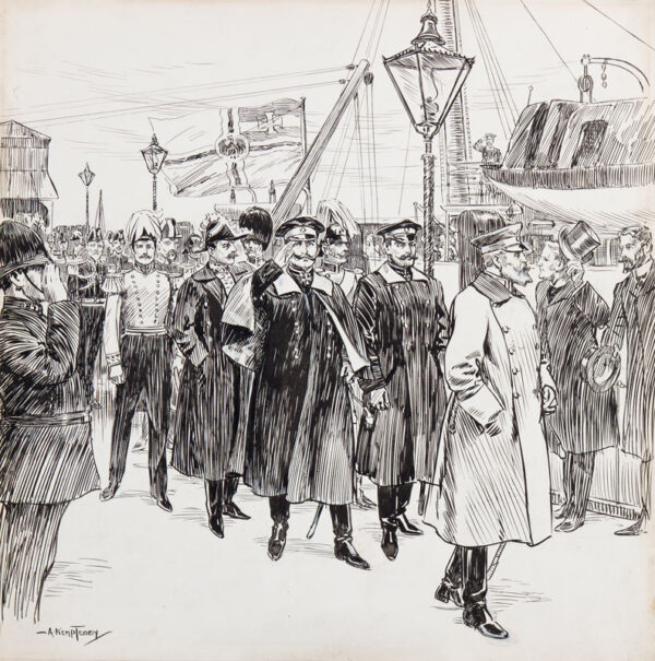 TEBBY Arthur Kemp (1865-1935) - 'Our Imperial Guest the Kaiser and his Suite land from the Imperial Yacht 'Hohenzollern' at Port Victoria'.