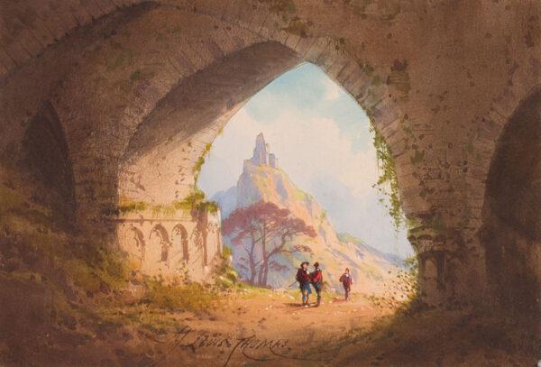 THOMAS Adolphe Jean Louis (fl.180-1875) - Capriccio landscape.