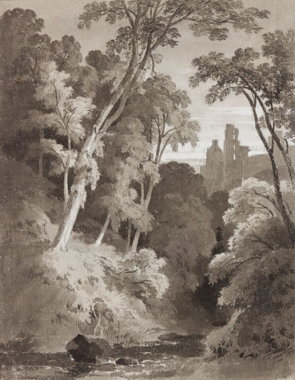 TUDOR Thomas (1785-1885) - Trees and stream, probably Monmouthshire Monochrome washes heightened with gouache.