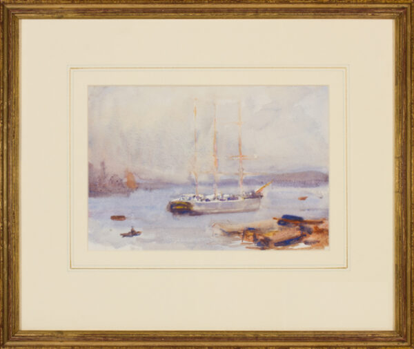 TUKE Henry Scott R.A. R.W.S. (1858-1929) - 'At Anchor, Falmouth harbour'.