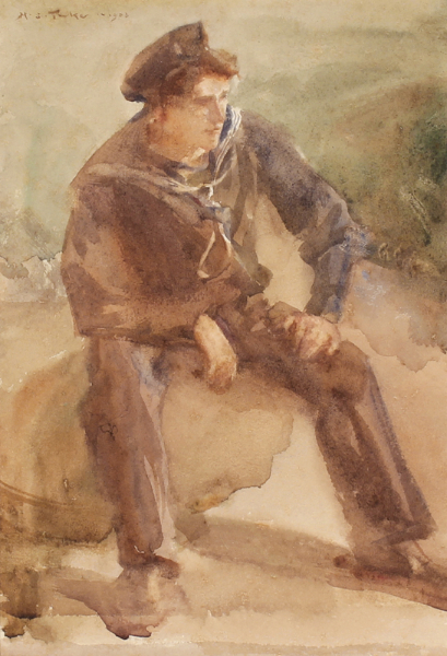 TUKE Henry Scott R.A. R.W.S. N.E.A.C. (1857-1929) - Study of Harry Cleave.