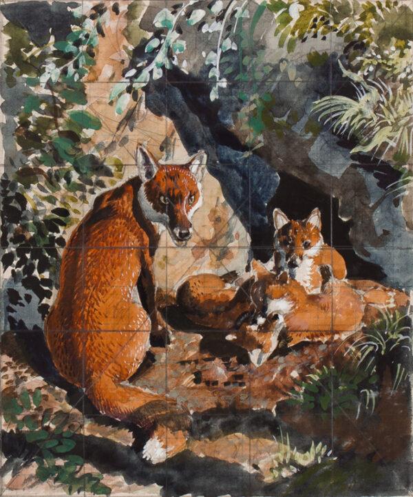 TUNNICLIFFE Charles Frederick O.B.E. R.A. R.E. (1901-1979) - Fox and cubs.