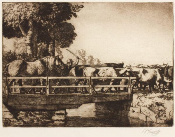 TUNNICLIFFE Charles Frederick O.B.E. R.A. R.E. (1901-1979) -  'The Fools Nook, Swing Bridge on Macclesfield Canal'.