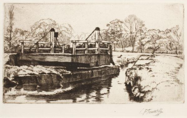 TUNNICLIFFE Charles Frederick O.B.E. R.A. R.E. (1901-1979) - The Swing Bridge'.