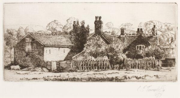 TUNNICLIFFE Charles Frederick O.B.E. R.A. R.E. (1901-1979) - Kemp Croft Farm, Sutton'.