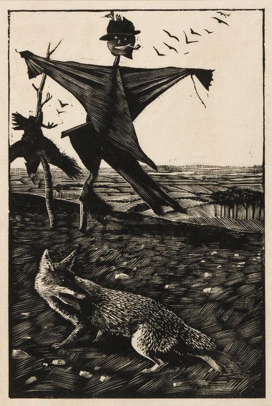 TUNNICLIFFE Charles Frederick O.B.E. R.A. R.E. (1901-1979) - 'Scarecrow and Fox'.