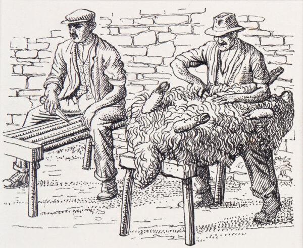 TUNNICLIFFE Charles Frederick O.B.E. R.A. R.E. (1901-1979) - Two traditional sheep shearers.