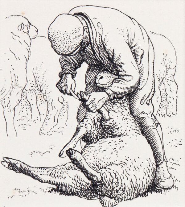TUNNICLIFFE Charles Frederick O.B.E. R.A. R.E. (1901-1979) - Cutting sheep's feet.