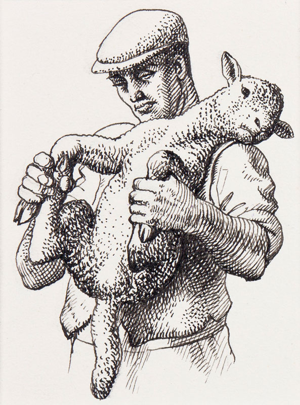 TUNNICLIFFE Charles Frederick O.B.E. R.A. R.E. (1901-1979) - Carrying the lamb.
