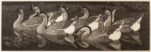 TUNNICLIFFE Charles Frederick O.B.E. R.A. R.E. (1901-1979) - 'Chinese Geese'.