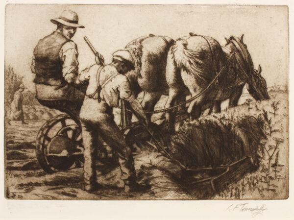 TUNNICLIFFE Charles Frederick O.B.E. R.A. R.E. (1901-1979) - Man harvesting.