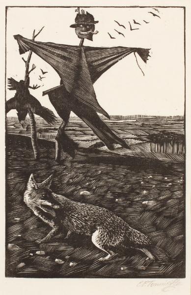 TUNNICLIFFE Charles Frederick O.B.E. R.A. R.E. (1901-1979) - 'The bob-tailed fox'.