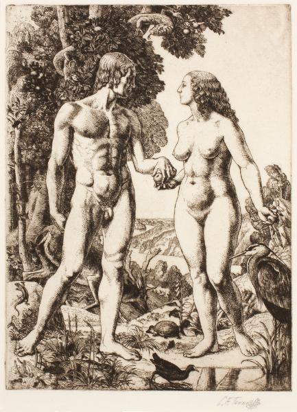 TUNNICLIFFE Charles Frederick O.B.E. R.A. R.E. (1901-1979) - 'Adam and Eve – Paradise'.