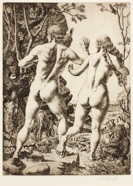 TUNNICLIFFE Charles Frederick O.B.E. R.A. R.E. (1901-1979) - 'Adam and Eve – Expulsion'.