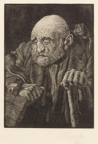 TUNNICLIFFE Charles Frederick O.B.E. R.A. R.E. (1901-1979) - 'Rat catcher'.