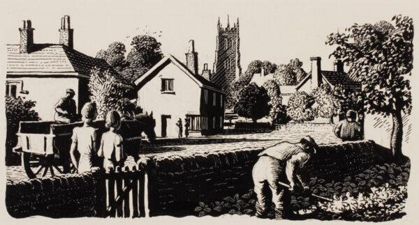 TUNNICLIFFE Charles Frederick O.B.E. R.A. R.E. (1901-1979) - Village scene.