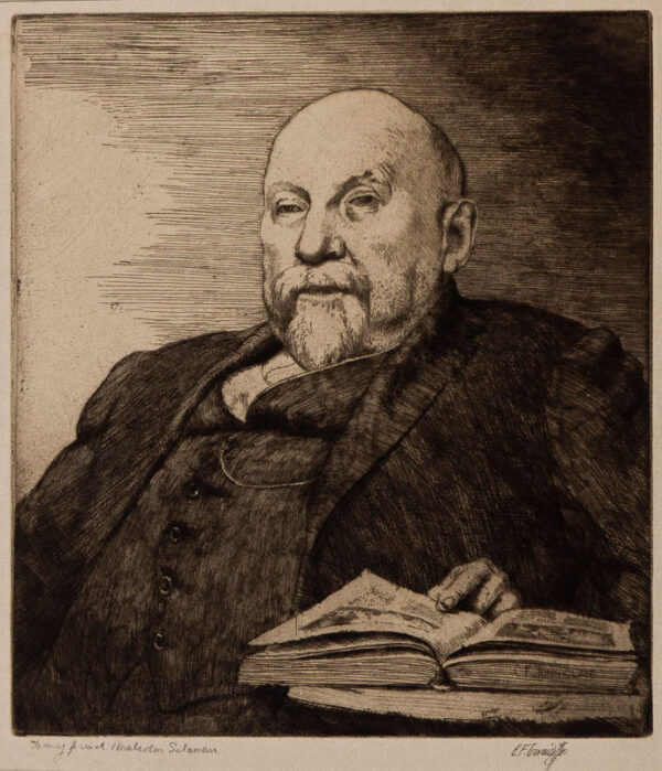 TUNNICLIFFE Charles Frederick O.B.E. R.A. R.E. (1901-1979) - 'The Critic': Malcolm Salaman (1855-1940) Etching.