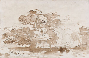 VARLEY John O.W.S. (1778-1842) - Trees by a lake.