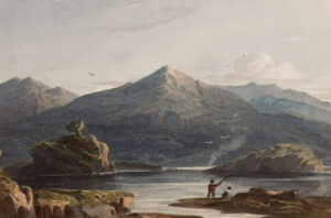 VARLEY John O.W.S. (1778-1842) Welsh lake. Watercolour. Circa 1825. Signed verso. 6x9 inches. Framed: 14x16 inches. -