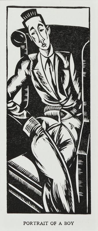 WADSWORTH Edward (1889-1949) - 'Portrait of a Boy': the dancer Rupert Doone (1903-1966).
