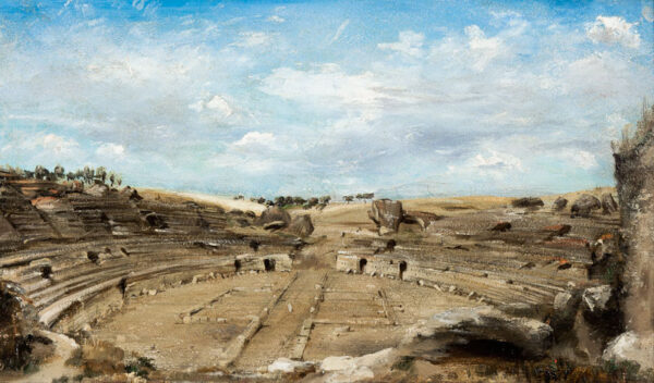 WARREN William White (1832-1915) - The Roman amphitheatre at Italica, Spain.