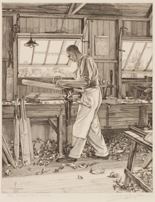 WASHINGTON William (1885-1956) - 'The cricket bat maker': Walter Warsop's workshop, Danbury, Essex.