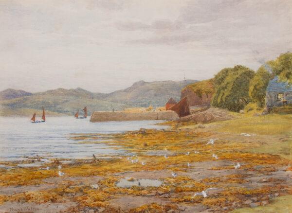 WALTON Frank R.I. (1840-1928) - 'The pier at Gairloch, Wester Ross'.