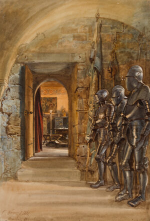 WERNER Carl Friedrich Heinrich (1808-1894) - 'Armoury, Wartburg', Thuringia; looted by the Russians in 1946.
