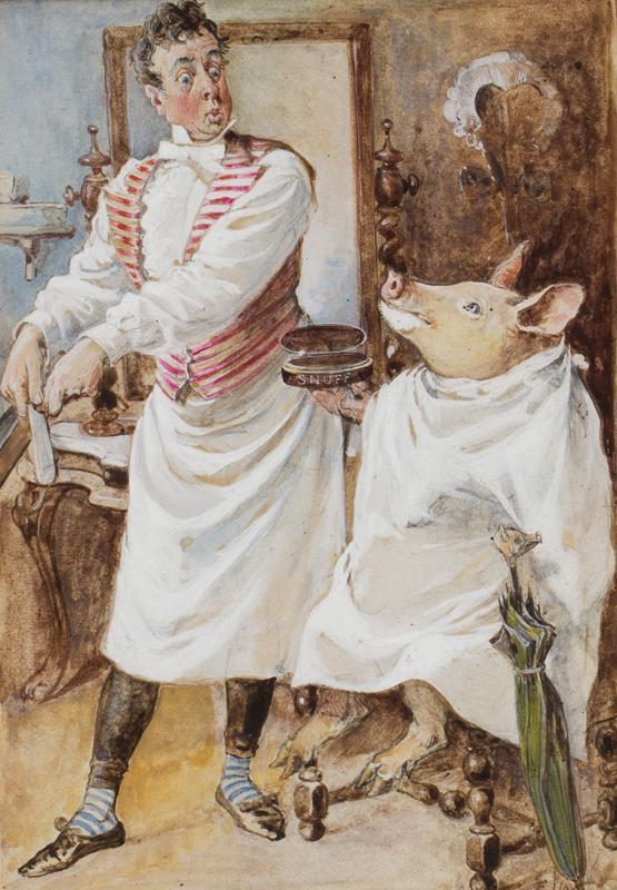 WHEELER Edward J (c.1848-1933) - 'Shave a Pig'.