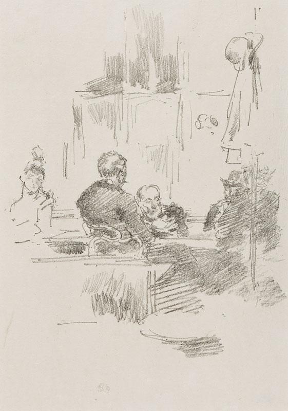 WHISTLER James Abbott McNeill (1834-1903) - 'Late Piquet'.