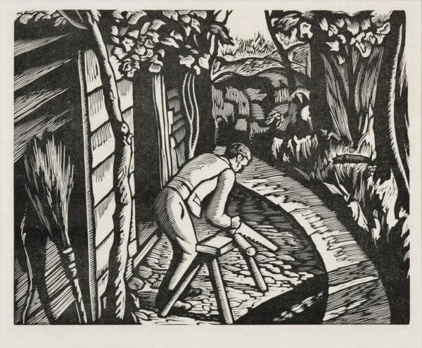 WHITE Ethelbert N.E.A.C. R.W.S. L.G. S.W.E. (1891-1972) - 'Sawing logs' (HC.