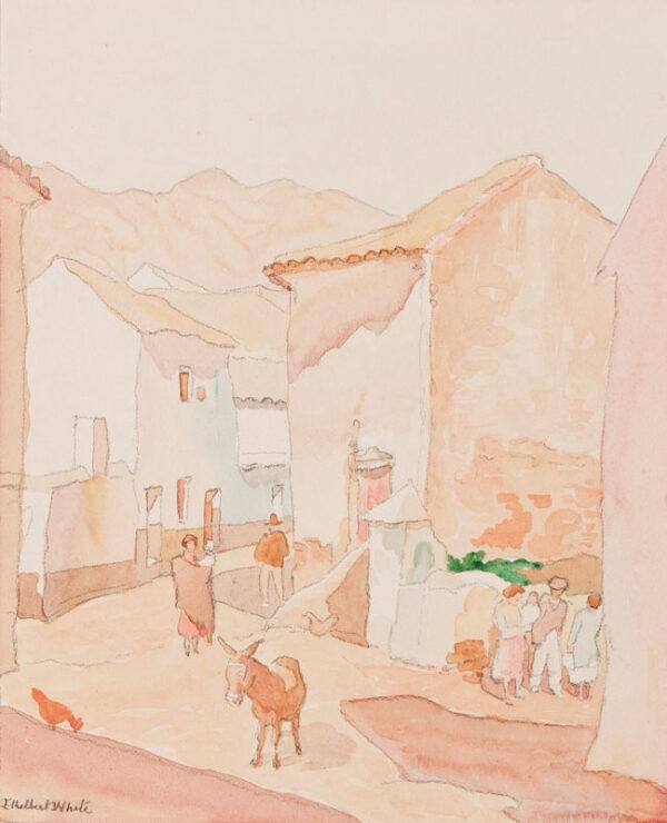 WHITE Ethelbert N.E.A.C. R.W.S. L.G. S.W.E. (1891-1972) - 'The Lost Donkey, Mabella (sic), Malaga'.
