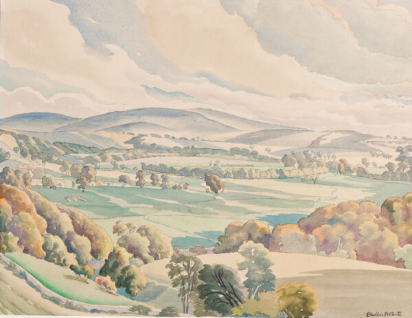 WHITE Ethelbert N.E.A.C. R.W.S. L.G. S.W.E. (1891-1972) - 'Across the Valley'.