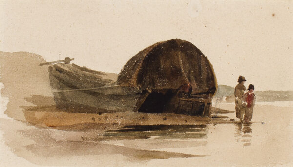 DE WINT Peter O.W.S. (1784-1849) - Sketchbook study of barge and bargees.