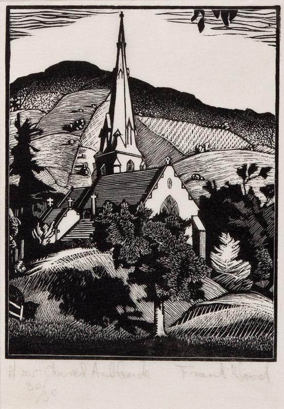 WOOD Frank (fl.1930s) - 'New Church, Ambleside'.