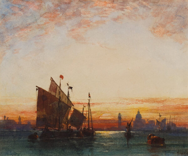 WYLD William R.I. (1806-1889) - Sunset on the Venetian lagoon.