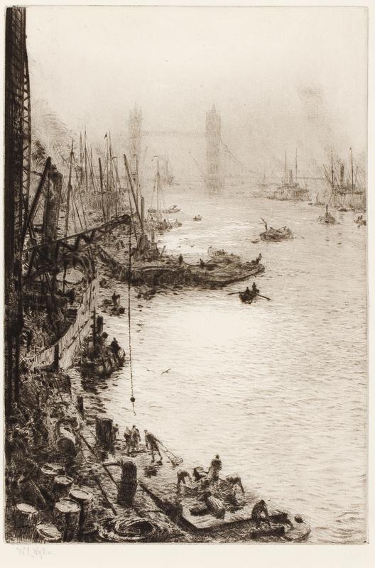 WYLLIE William Lionel R.A. R.E. N.E.A.C. (1851-1931) - 'Down stream' from Tower bridge.