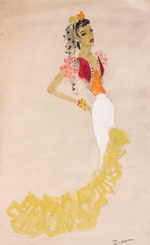 ZINKEISEN Doris (1898-1991) - Costume design for the Cochran's 21st e Revue 'Streamline', 1934.